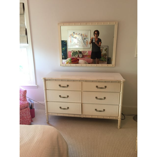Vintage Mid-Century Faux Bamboo Dresser with matching mirror and Nightstand with Original Hollywood Regency hardware,...