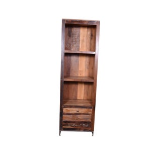 Multi-Purpose Bookshelf With Storage, Wooden Bookcase, Library, 2 Drawers, Rustic Look- Natural For Sale