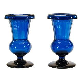 "Pair of Signed Hawkes/Steuben ""Celeste Blue"" Crystal Vases 14"" For Sale"