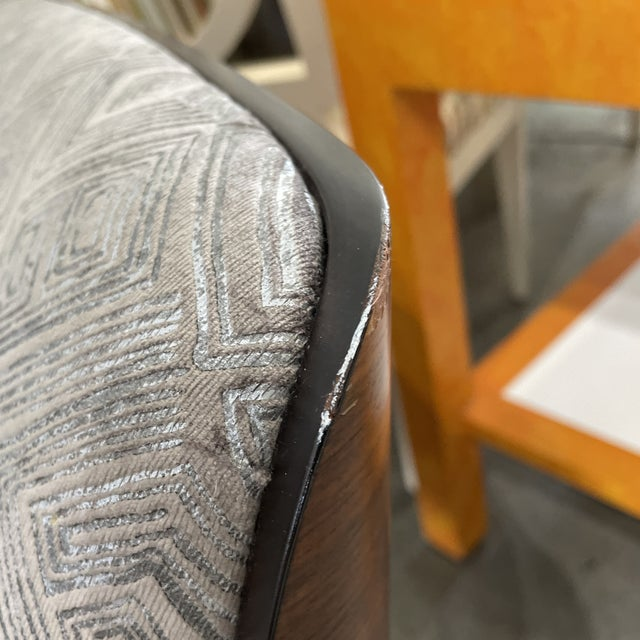 Wood 1970s Gray Upholstered Mid-Century Style Arm Chair For Sale - Image 7 of 12