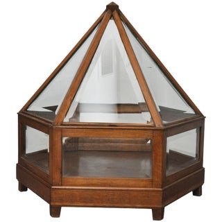 Early 20th Century Italian Fruitwood and Glass Display, Circa 1910 For Sale