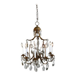 1930s Vintage French Gilt Tole and Crystal Chandelier For Sale