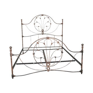 Victorian Style High Quality Distressed Painted Iron King Bed For Sale