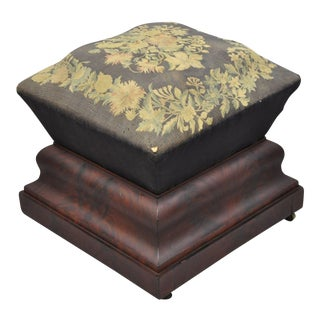 Mid 19th Century Antique American Empire Flame Mahogany Stool For Sale