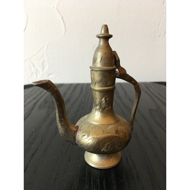 Mid-20th Century Islamic Hinged Lidded Etched Brass Pitcher For Sale - Image 10 of 10
