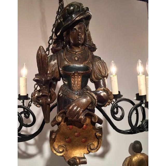 Gold 19th Century German Six-Light Lusterweibchen Carved Polychrome Chandelier For Sale - Image 8 of 10
