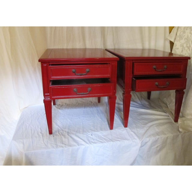 Vermillion Neoclassical 1960s Side Tables - A Pair - Image 3 of 7