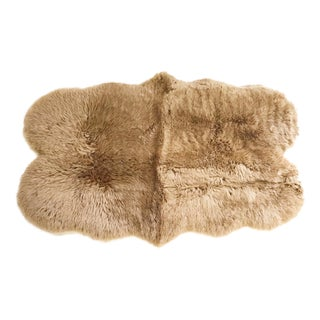 Forsyth Tan Quad Sheepskin Rug - 3′7″ × 6′ For Sale