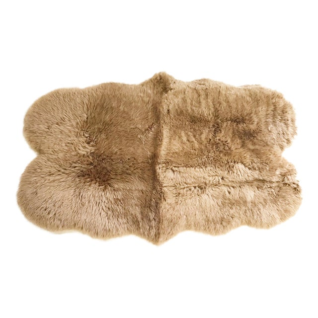 Forsyth Tan Quad Sheepskin Rug - 3′7″ × 6′ For Sale