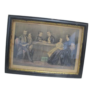 Currier & Ives 1867 Original Frame 1st Colored Engraving General Grant & Family For Sale