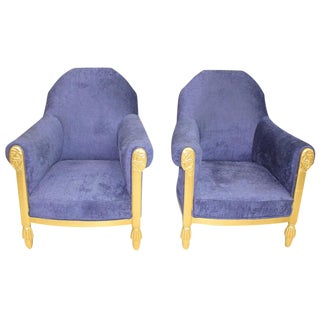 1920s Paul Follot French Art Deco Blue Upholstered Gilt Wood Armchairs - a Pair For Sale