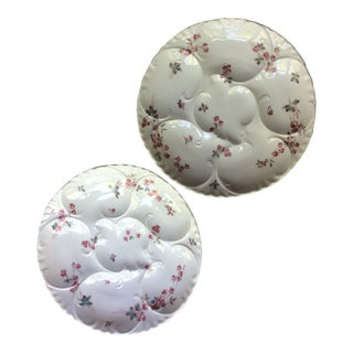 Antique French Floral Porcelain Oyster Plates - a Pair For Sale