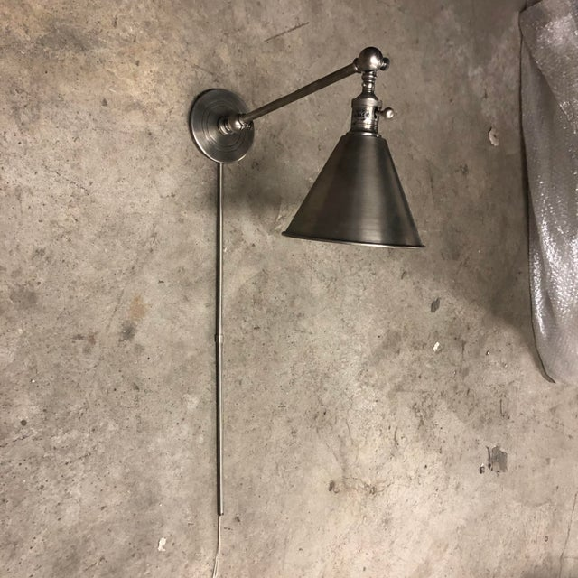 Antiqued Nickel Single Arm Wall Light For Sale - Image 13 of 13