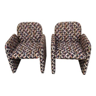 Pair of Vintage Lounge Chairs in Geometric Fabric. For Sale