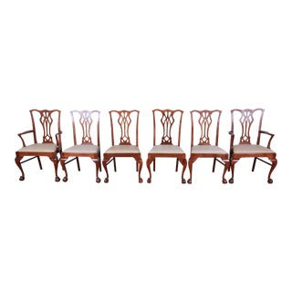 Chippendale Mahogany Ball and Claw Foot Dining Chairs, Set of 6 For Sale