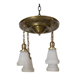 Four Light Brass Flush Pan Light Fixture For Sale