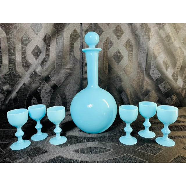 1930s Antique French Blue Opaline Decanter and Cordial Goblets Glassware Portieux Vallerysthal - Set of 7 For Sale - Image 13 of 13