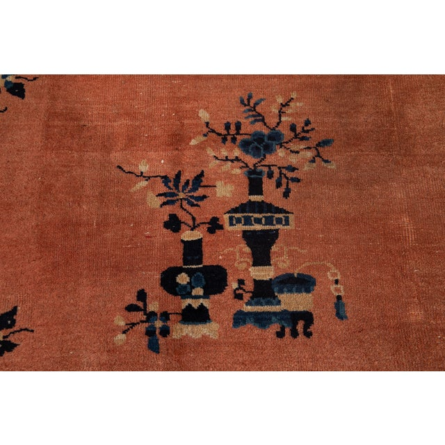 Textile Early 20th Century Antique Art Deco Chinese Wool Rug 9 X 15 For Sale - Image 7 of 13