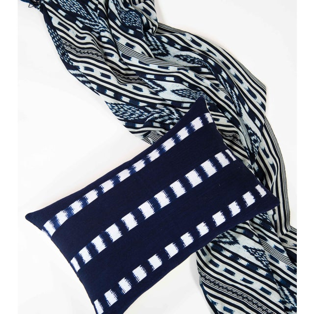 Guatemalan Striped Indigo Handwoven Pillow - Image 3 of 7