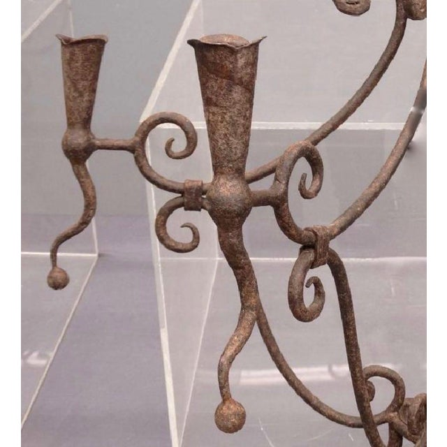 Gothic Monumental Gothic Iron Candle Sconces - A Pair For Sale - Image 3 of 6