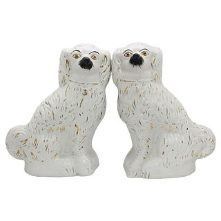 Antique Staffordshire King Charles Spaniels, a Pair For Sale