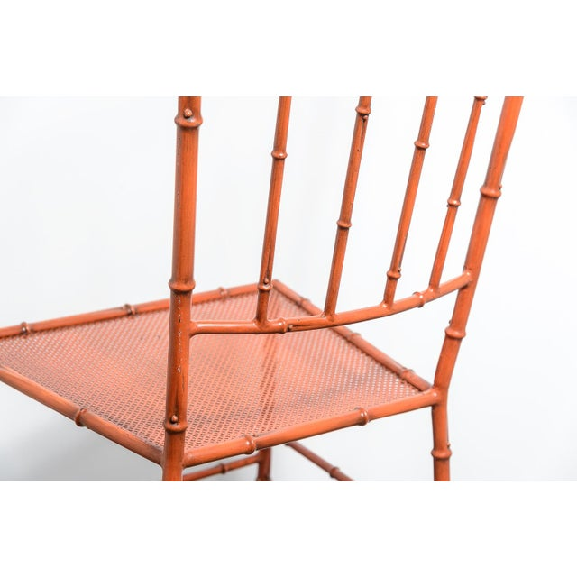 Metal C.1970 Italian Faux Bamboo High Back Chinese Red Side Chair For Sale - Image 7 of 12