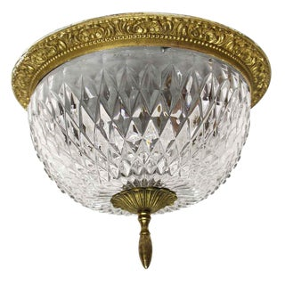 Waldorf Astoria Towers Cut Crystal Flush Mount Fixture For Sale