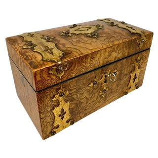 Mid 19th Century English Carpathian Wood Tea Caddy With Double Compartments For Sale