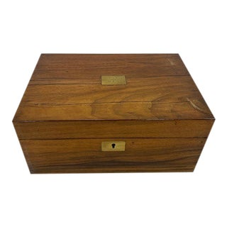 Early 20th Century English Wooden Writing Box With Brass Plate For Sale
