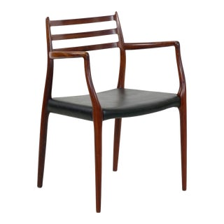 Vintage Model No. 62 Rosewood Arm Chair by Niels Møller, Denmark Circa 1962 For Sale