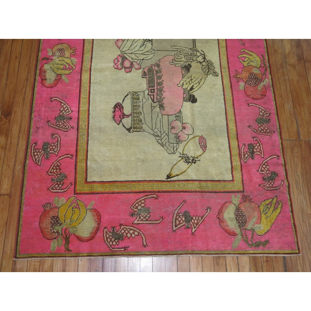 Textile Bright Pink Boho Chic 19th Century Khotan Rug, 4'6'' x 6'10'' For Sale - Image 7 of 9