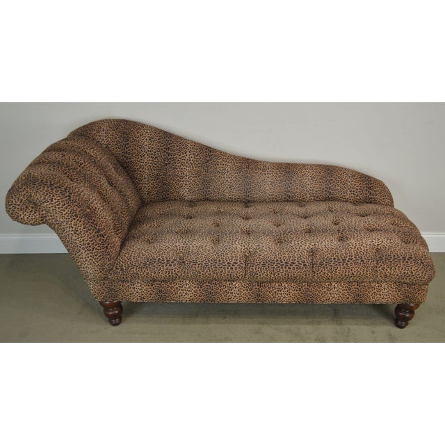 Leopard Print Upholstered Tufted Chaise Lounge Recamier For Sale In Philadelphia - Image 6 of 12