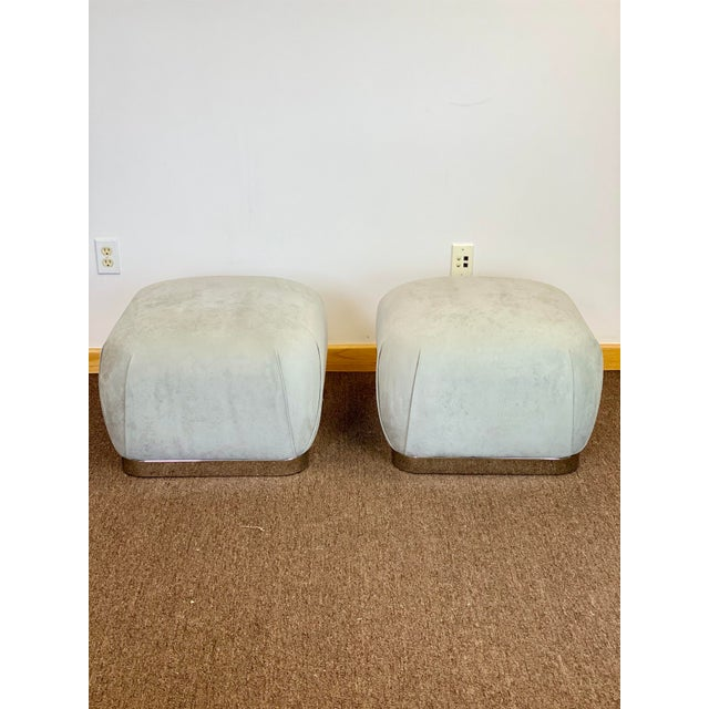 We are very pleased to offer a modern, fabulous pair of souffle poufs by Weiman, circa the 1980s. This set showcases a...