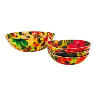 Mid Century Floral Salad Bowl Set - 6 Piece Set For Sale