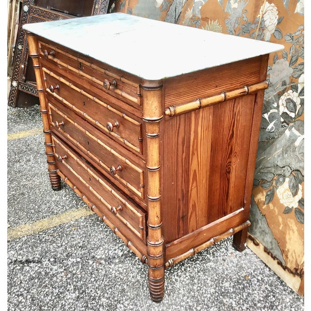 19th Century American Marble Top Faux Bamboo Chest of Drawers For Sale - Image 4 of 10