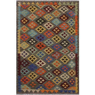 Contemporary Kilim Arden Brown/Red Hand-Woven Wool Rug - 3'3 X 5'0 For Sale