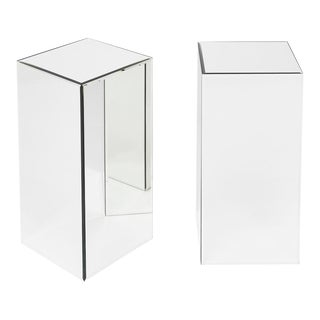 Modernist Mirrored Pedestals - A Pair For Sale