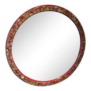 Mid Century Modern Red Lacquer & Abalone Shell Wall Mirror For Sale