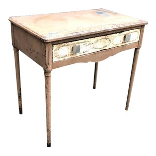 1930s Rustic Simmons Machine Age Metal Vanity Desk With Drawer For Sale