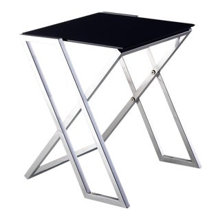 Pasargad Home Luxe Collection Glass & Steel End Table For Sale