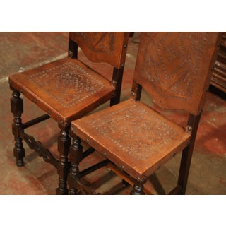 Pair of 19th Century Spanish Carved Walnut Bar Stools With Original Leather Preview
