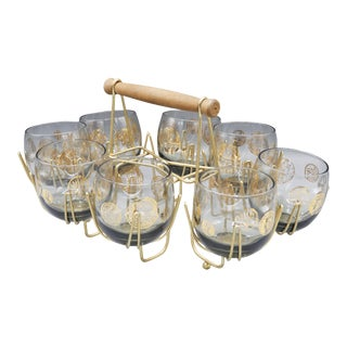 1960s Mid-Century Lowball Glasses With Gold Detail and Brass Caddy Holder - Set of 9 For Sale