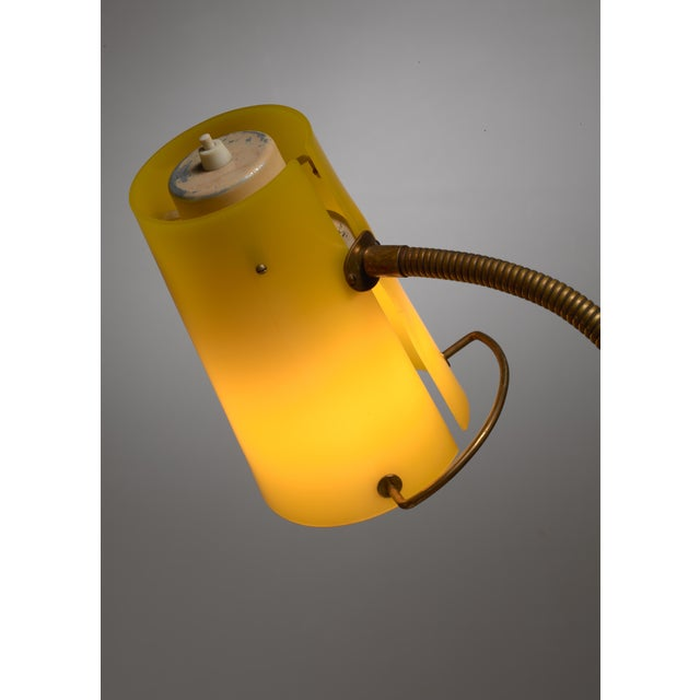 Scandinavian Modern Floor Lamp with Yellow Plexiglass Adjustable Shade, 1950s - Image 5 of 6
