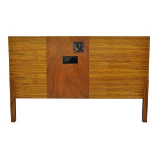 Vintage Mid Century Modern Full Size Walnut and Tile Inlay Bed Headboard For Sale