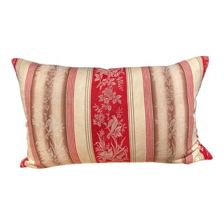 19th C. French Fabric Red Ticking Stripe Pillow For Sale