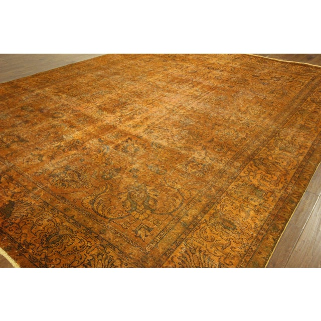 "Orange Tabriz Overdyed Area Rug - 9'10"" X 12'3"" - Image 4 of 10"