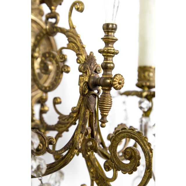 Metal Highly Detailed Belle Epoque Style Sconces (Pair) For Sale - Image 7 of 13