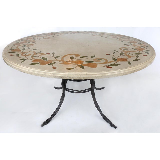 Dining Table W/Hand Wrought Iron Base & Stone Composition Marble Inlay Top For Sale In Miami - Image 6 of 6