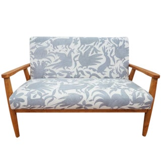 Mid-Century Modern Vintage Love Seat With Slate Gray Otomi Embroidery For Sale