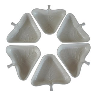 Mid-Century Modern Valley Vista Pottery White Leaf Serving Bowls - Set of 6 For Sale